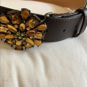 Talbots Accessories - Brown Leather Talbots Belt with Jewel Buckle